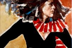 Žena s červenou šálou 50 x 50 - ZAKÁZKA